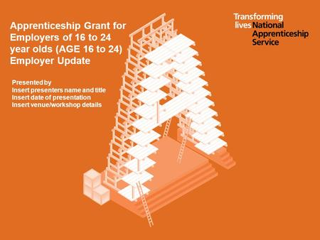 Apprenticeship Grant for Employers of 16 to 24 year olds (AGE 16 to 24) Employer Update Presented by Insert presenters name and title Insert date of presentation.