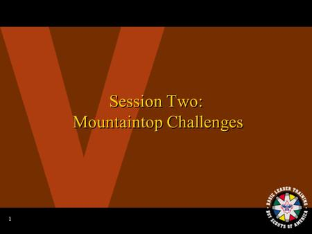 1 Session Two: Mountaintop Challenges 2 Learning Your Knots: Squad Relay Race.