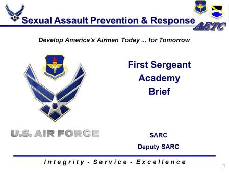 1 Sexual Assault Prevention & Response I n t e g r i t y - S e r v i c e - E x c e l l e n c e First Sergeant Academy Brief Develop America's Airmen Today...