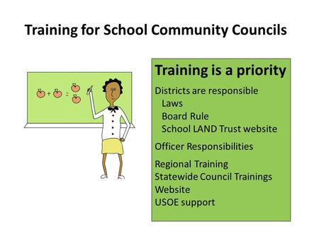 Training for School Community Councils Training is a priority Districts are responsible Laws Board Rule School LAND Trust website Officer Responsibilities.
