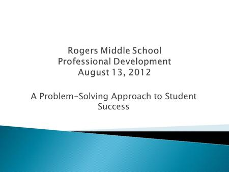 A Problem-Solving Approach to Student Success.  Review of RTI  Definitions  The Problem-Solving Approach  Role of the Three Tiered Intervention System.