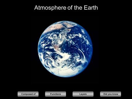 Atmosphere of the Earth Composed ofFunctionsLayers Did you know.