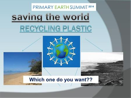 Which one do you want?? Why we should RECYCLE?  The environment is a vital place; it provides us with our home, with the food we eat, the water we drink.