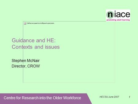 Centre for Research into the Older Workforce HECSU June 2007 1 Guidance and HE: Contexts and issues Stephen McNair Director, CROW.