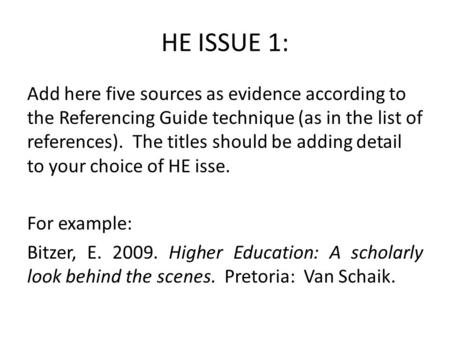 HE ISSUE 1: Add here five sources as evidence according to the Referencing Guide technique (as in the list of references). The titles should be adding.