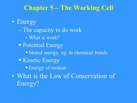 Chapter 5 – The Working Cell