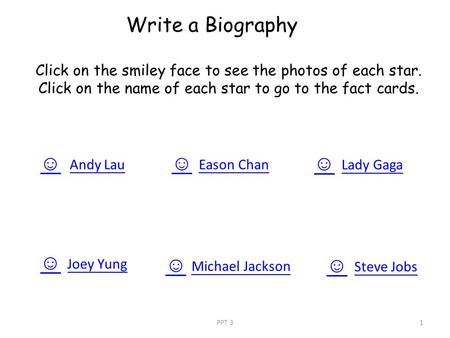 Write a Biography ☺ Andy Lau ☺ Joey Yung ☺ Michael Jackson