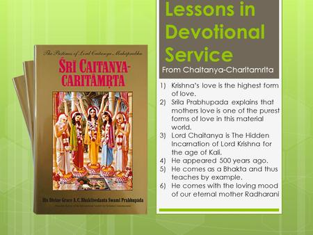 Lessons in Devotional Service
