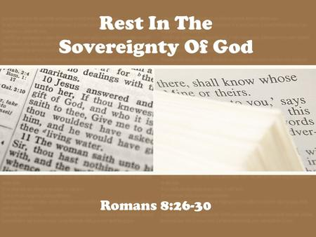 Rest In The Sovereignty Of God