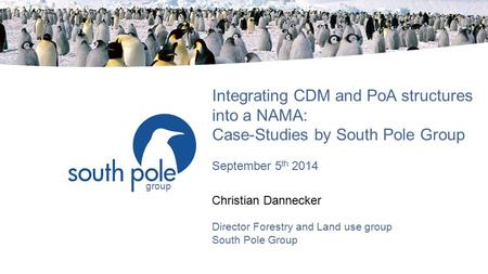 Group Integrating CDM and PoA structures into a NAMA: Case-Studies by South Pole Group September 5 th 2014 Christian Dannecker Director Forestry and Land.