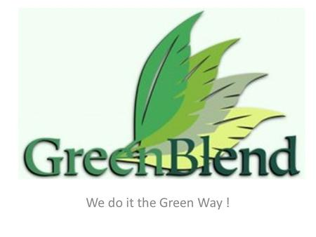 We do it the Green Way !. A road to a sustainable company.
