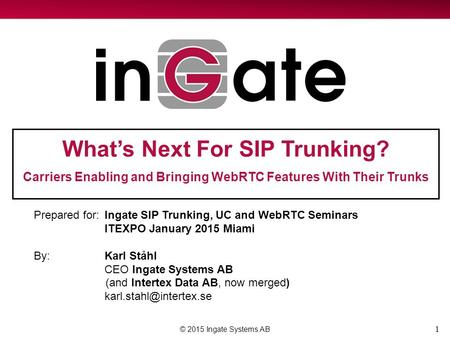 1 What's Next For SIP Trunking? Carriers Enabling and Bringing WebRTC Features With Their Trunks © 2015 Ingate Systems AB Prepared for:Ingate SIP Trunking,