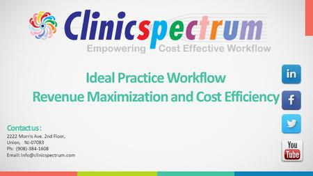 Ideal Practice Workflow Revenue Maximization and Cost Efficiency Contact us : 2222 Morris Ave. 2nd Floor, Union, NJ-07083 Ph: (908)-384-1608