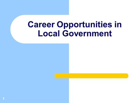 1 Career Opportunities in Local Government. 2 SERVICE DESIRED SERVICE DELIVERY COUNCIL CAO RESIDENTSRESIDENTS STAFF Relationship Model.