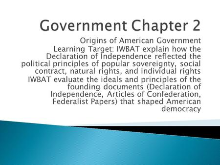 Government Chapter 2 Origins of American Government