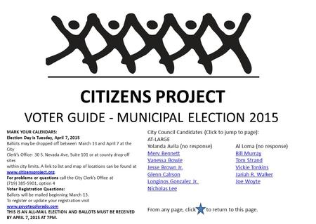 CITIZENS PROJECT VOTER GUIDE - MUNICIPAL ELECTION 2015