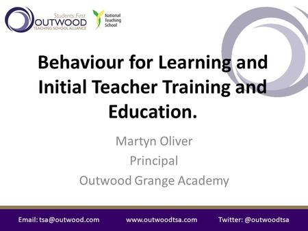 Behaviour for Learning and Initial Teacher Training and Education.