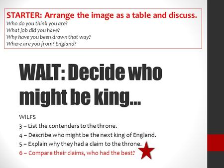 WALT: Decide who might be king…