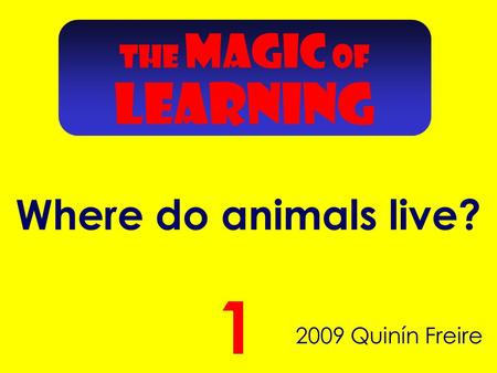 2009 Quinín Freire 1 THE MAGIC OF LEARNING Where do animals live?