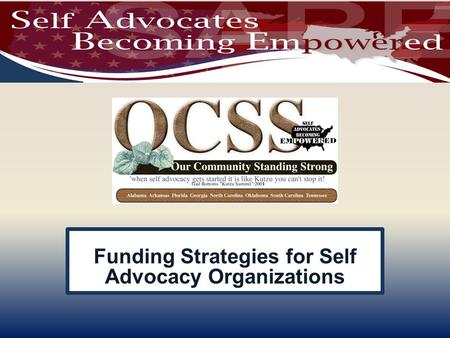 Funding Strategies for Self Advocacy Organizations.