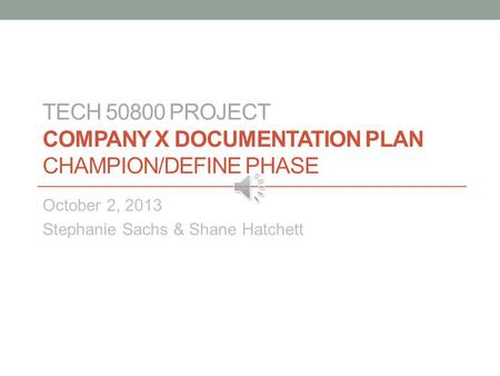 TECH Project Company X Documentation Plan Champion/Define Phase