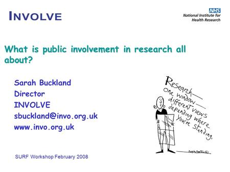 What is public involvement in research all about? Sarah Buckland Director INVOLVE  SURF Workshop February 2008.