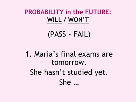 PROBABILITY in the FUTURE: WILL / WON'T