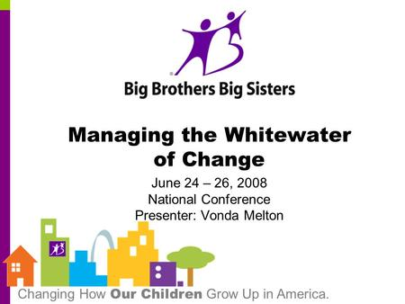 Changing How Our Children Grow Up in America. Managing the Whitewater of Change June 24 – 26, 2008 National Conference Presenter: Vonda Melton.