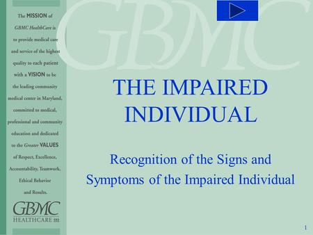 1 THE IMPAIRED INDIVIDUAL Recognition of the Signs and Symptoms of the Impaired Individual.