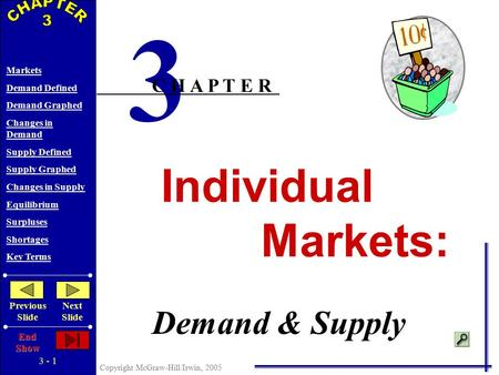 3 - 1 Copyright McGraw-Hill/Irwin, 2005 Markets Demand Defined Demand Graphed Changes in Demand Supply Defined Supply Graphed Changes in Supply Equilibrium.