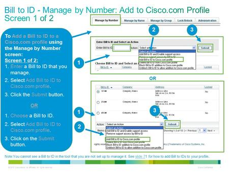 © 2013 Cisco and/or its affiliates. All rights reserved. Cisco Confidential 1 To Add a Bill to ID to a Cisco.com profile using the Manage by Number screen: