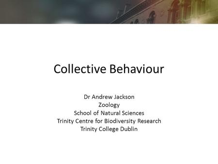 Collective Behaviour Dr Andrew Jackson Zoology School of Natural Sciences Trinity Centre for Biodiversity Research Trinity College Dublin.