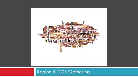 BETTER TOGETHER Region 6 DOL Gathering. 2 Organize Community Resources SIX GUIDING PRINCIPLES Deepen, Sustain Employer Partnerships Make Easier to Acquire.