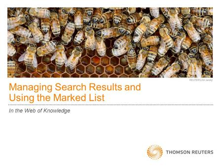 Managing Search Results and Using the Marked List In the Web of Knowledge.