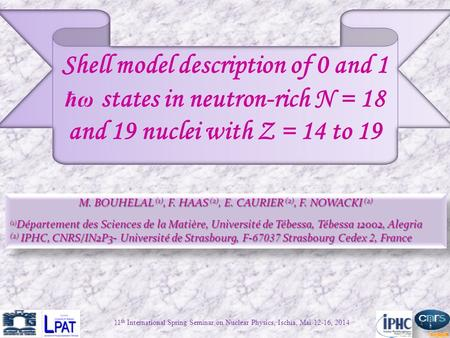 Shell model description of 0 and 1 ħω states in neutron-rich N = 18 and 19 nuclei with Z = 14 to 19 M. BOUHELAL (1), F. HAAS (2), E. CAURIER (2), F. NOWACKI.