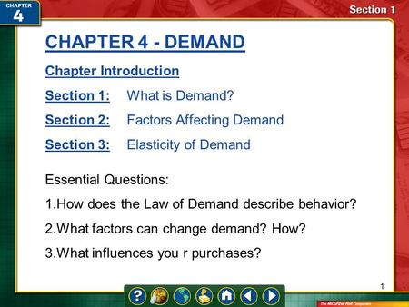 CHAPTER 4 - DEMAND Chapter Introduction Section 1: What is Demand?