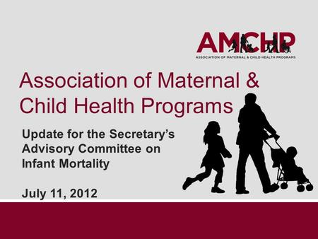 Association of Maternal & Child Health Programs Update for the Secretary's Advisory Committee on Infant Mortality July 11, 2012.