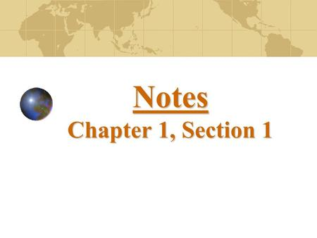 Notes Chapter 1, Section 1.