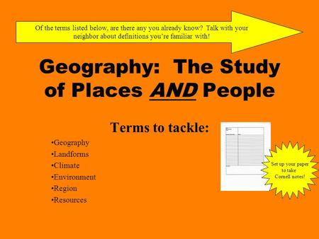 Geography: The Study of Places AND People