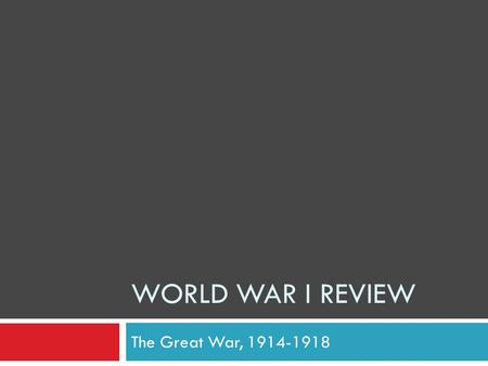 World War I review The Great War, 1914-1918.