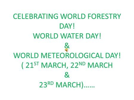 CELEBRATING WORLD FORESTRY DAY. WORLD WATER DAY