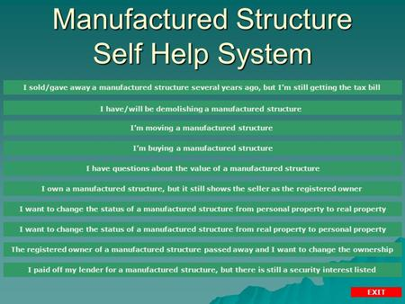 Manufactured Structure Self Help System I sold/gave away a manufactured structure several years ago, but I'm still getting the tax bill I have/will be.