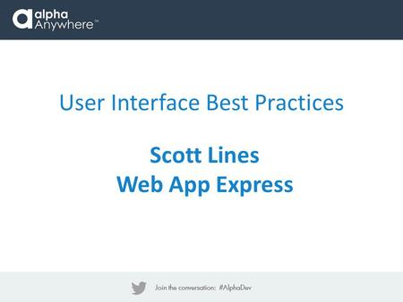User Interface Best Practices Scott Lines Web App Express.