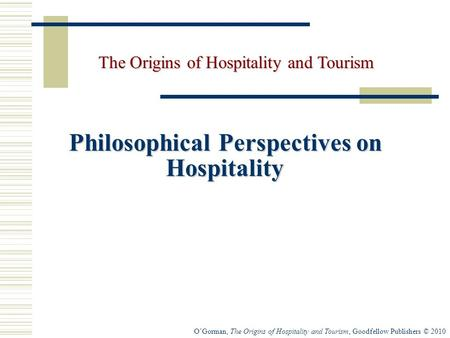 Philosophical Perspectives on Hospitality