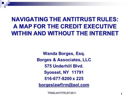 TRMG ANTITRUST 2011 1 NAVIGATING THE ANTITRUST RULES: A MAP FOR THE CREDIT EXECUTIVE WITHIN AND WITHOUT THE INTERNET Wanda Borges, Esq. Borges & Associates,