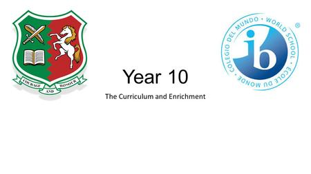 Year 10 The Curriculum and Enrichment. Curriculum Team Jane Bishop: Assistant Head Teacher Strategic leadership for Years 10 – 11 Craig Sullivan Curriculum.