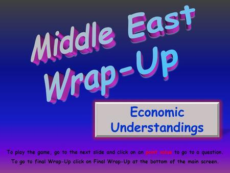 Economic Understandings To play the game, go to the next slide and click on an point value to go to a question. To go to final Wrap-Up click on Final Wrap-Up.