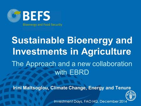Sustainable Bioenergy and Investments in Agriculture