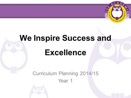 We Inspire Success and Excellence Curriculum Planning 2014/15 Year 1.