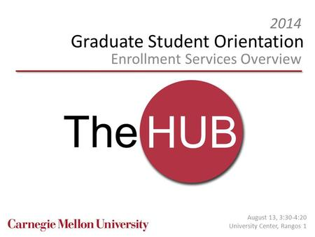 Graduate Student Orientation Enrollment Services Overview 2014 August 13, 3:30-4:20 University Center, Rangos 1.